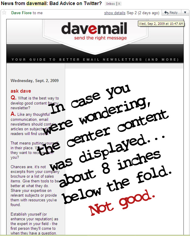 Davemail has major issues in Gmail.