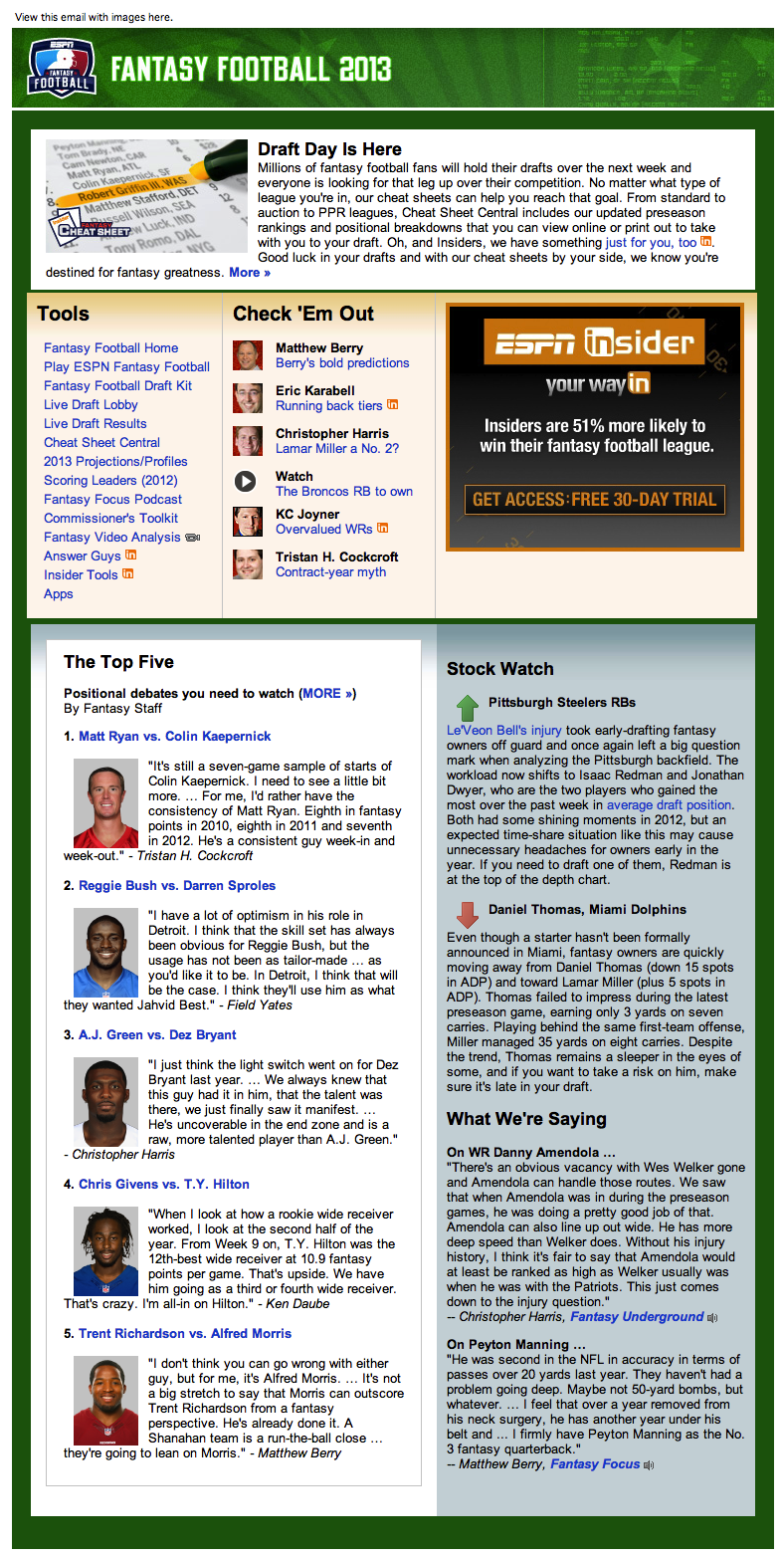ESPN's Old Newsletter