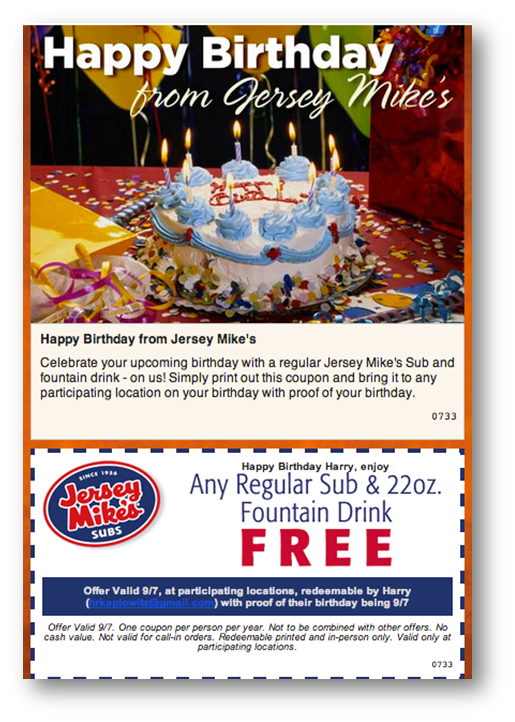 Jersey Mike's Birthday Email Example