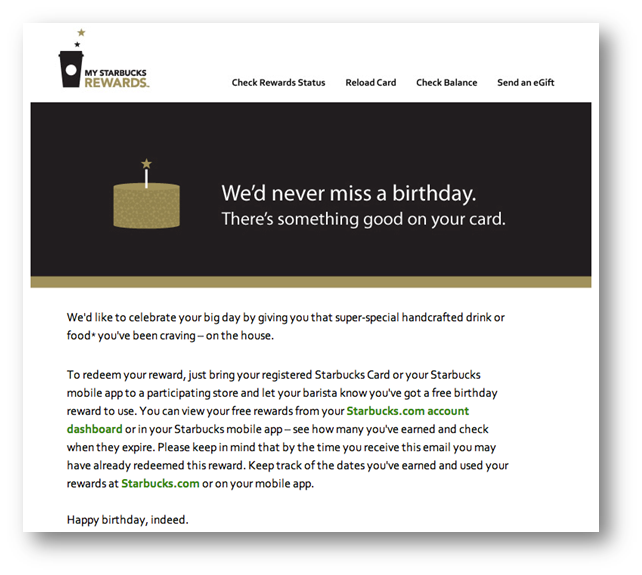 Starbucks Birthday Email